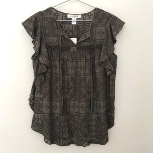 NWT Anthro Hiche Cross Stitched Flutter Blouse XS